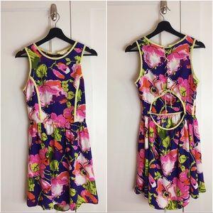Parker Silk Floral Open Back Sun Dress Sz Med